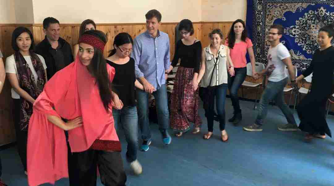 "Ramallah Tour - Graduate students from Georgetown University learning the Palestinian ""Dabka"" dance."